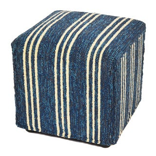 "South Beach Indoor/Outdoor Blue Stripes 18"" Ottoman"