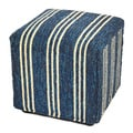 South Beach Blue Striped Indoor/ Outdoor Ottoman