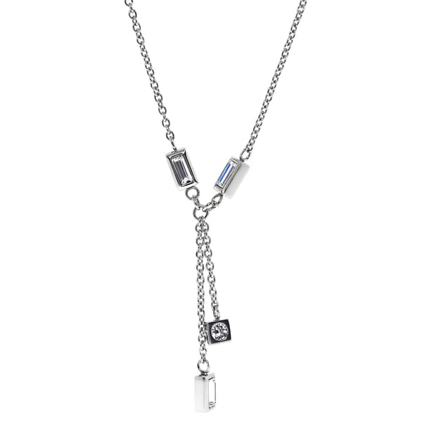 Stainless Steel Crystal Drop Rolo Y-necklace