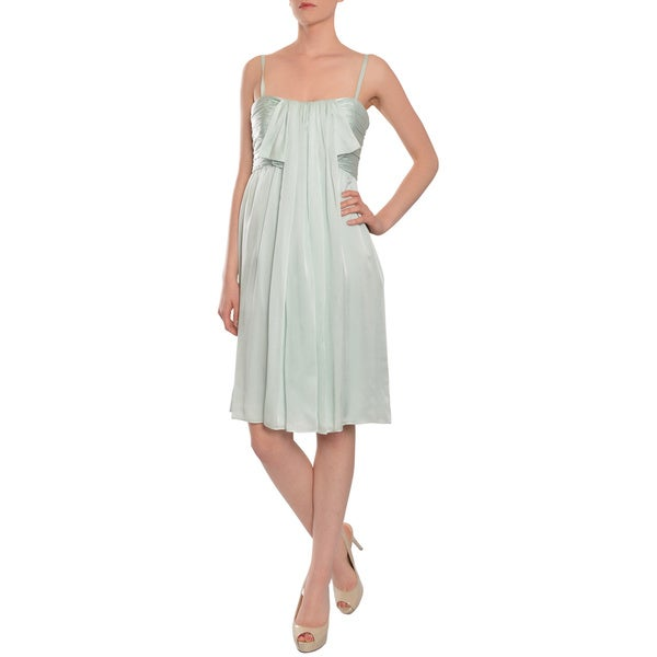 Escada Women's Seafoam Green Draped Silk Cocktail Dress