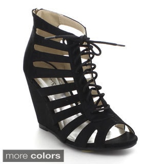 Bonnibel Estee-1 Women's Strappy Lace Up Back Zipper Wedge