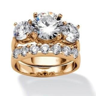 PalmBeach Gold Over Silver 5 1/2 TGW Cubic Zirconia 2-piece Ring Set Glam CZ
