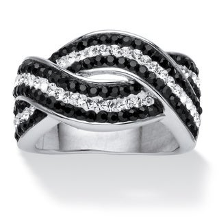 PalmBeach Jewelry Platinum-plated Pave Jet Black and White Crystal Twisting Crossover Ring made with Color Fun