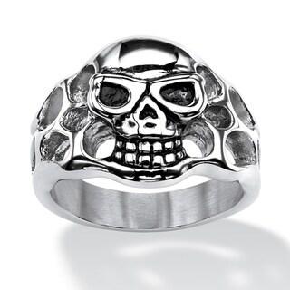 PalmBeach Stainless Steel Men's Openwork Skull Ring