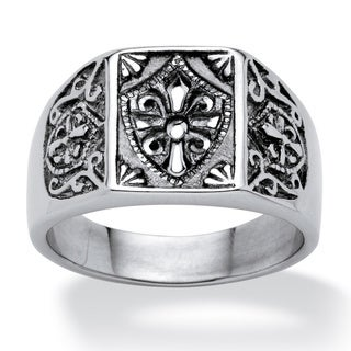 PalmBeach Stainless Steel Men's Cross and Crest Signet Ring