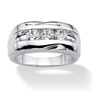 PalmBeach Men's .84 TCW Round Cubic Zirconia Ring in Platinum Plated Sizes 8-16
