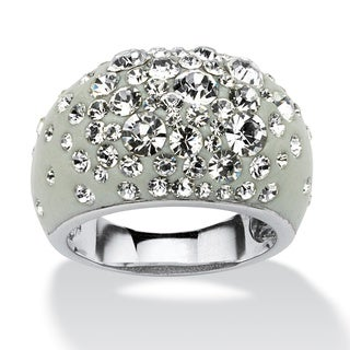 PalmBeach Jewelry Silvertone White Crystal Dome Ring Made with SWAROVSKI ELEMENTS