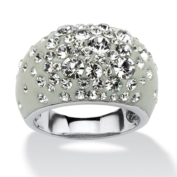 PalmBeach Jewelry Silvertone White Crystal Dome Ring made with Swarovski Elements Color Fun
