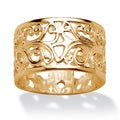 PalmBeach 18k Yellow Gold Over Silver Ornate Scroll Band Tailored