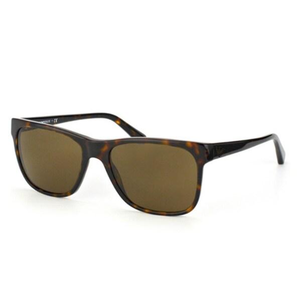 Emporio Armani Men's 'EA4002 502673' Dark Havana Plastic Rectangular Sunglasses
