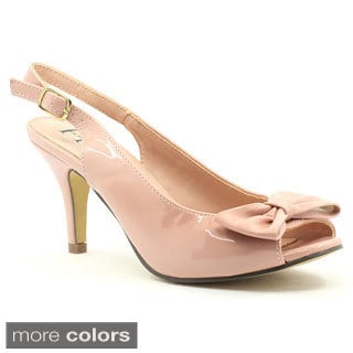 FFC New York Women's 'Monitas' Peep-toe Bow Patent Heels