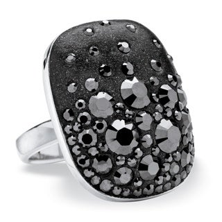 PalmBeach Jewelry Silvertone Jet Black Crystal Oval Ring made with Swarovski Elements Color Fun