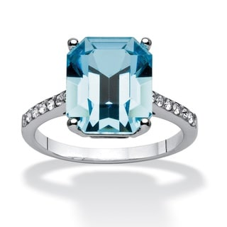 PalmBeach Jewelry Platinum Over Silver Capri Blue Emerald-cut Crystal Ring made with Swarovski Elements