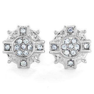 West Coast Jewelry Silvertone Micro Pave Crystal Starburst Stud Post Earrings