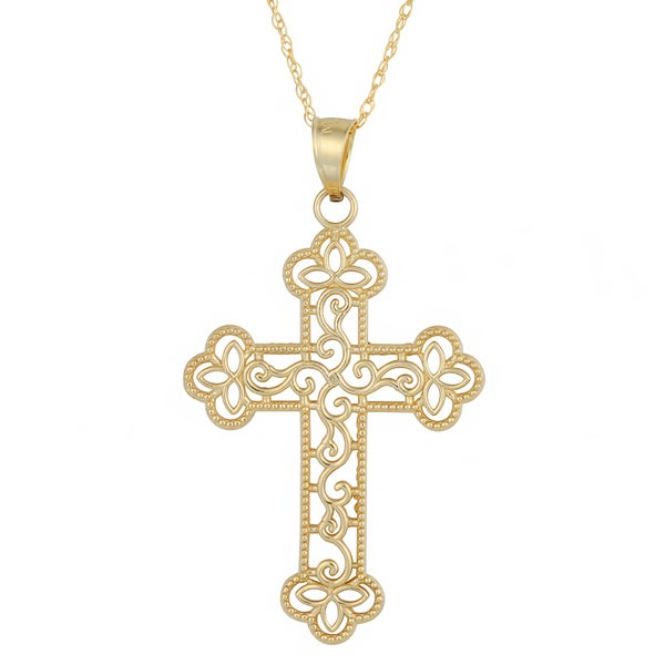 Fremada 10k Yellow Gold Filigree Clover Tips Cross Pendant with Delicate Rope Chain Necklace (18 inch)