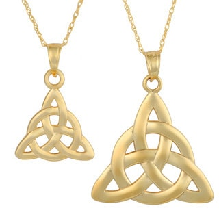 Fremada 14k Yellow Gold Celtic Knot pendant with Delicate Rope Chain Necklace