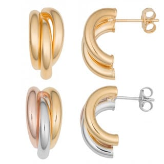 Fremada 18k Gold Over Sterling Silver Triple Half Hoop Earrings (yellow or tricolor)