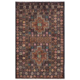 Herat Oriental Semi-antique Afghan Hand-knotted Tribal Balouchi Brown/ Pink Wool Rug (2'9 x 4'5)