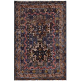 Semi-antique Afghan Hand-knotted Tribal Balouchi Brown/ Navy Wool Rug (2'10 x 4'6)