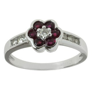 Michael Valitutti 10k White Gold Ruby 1/6ct TDW Diamond Ring (I-J, I1-I2)