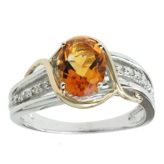 Michael Valitutti 10k Two-tone Gold Citrine and Diamond Accent Ring
