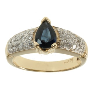 Michael Valitutti 14k Yellow Gold Blue Sapphire and 1/3ct TDW Diamond Ring (I-J, I1-I2)