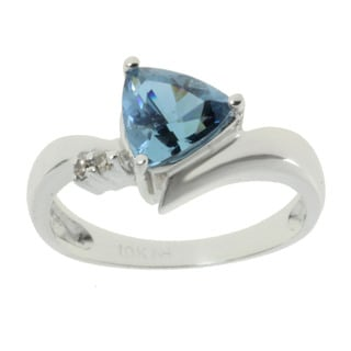 Michael Valitutti 10k White Gold Created Alexandrite and Diamond Accent Ring