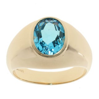 Michael Valitutti 10k Yellow Gold Blue Topaz Ring