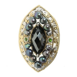 Michael Valitutti Two-tone Hematite, Chrome Diopside and Freshwater Pearl Ring (3-4 mm)