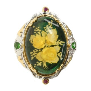 Michael Valitutti Two-tone Carved Amber, Chrome Diopside and Ruby Ring