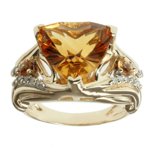 Michael Valitutti 14k Yellow Gold Citrine, Spessartite and 1/6ct TDW Diamond Ring (I-J, I1-I2)