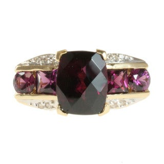 Michael Valitutti 14k Yellow Gold Rhodolite and 1/10ct TDW Diamond Ring (I-J, I1-I2)
