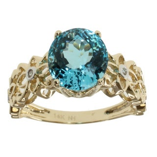 Michael Valitutti 14k Yellow Gold Blue Topaz and Diamond Accent Ring