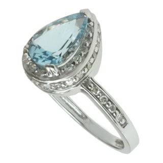 Michael Valitutti 14k White Gold Aquamarine and 1/3ct TDW Diamond Ring (I-J, I1-I2)
