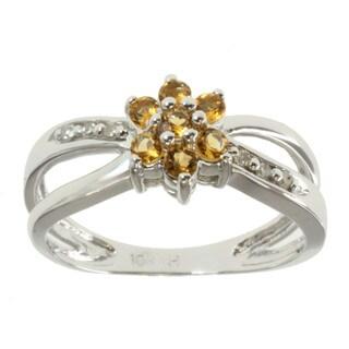 Michael Valitutti 10k White Gold Yellow Sapphire and Diamond Ring