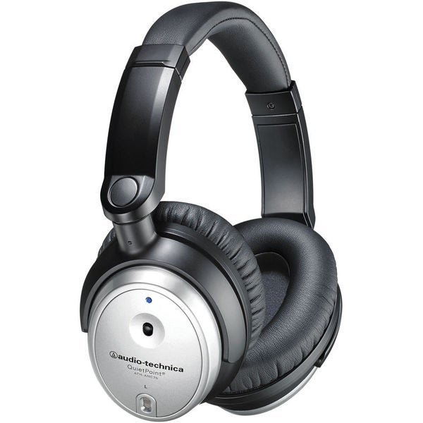 Audio Technica QuietPoint Active Noise Cancelling Silver Headphones