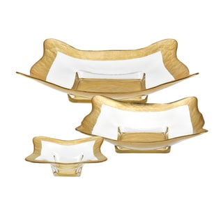 3-piece Gold Leaf Square Bowl Set