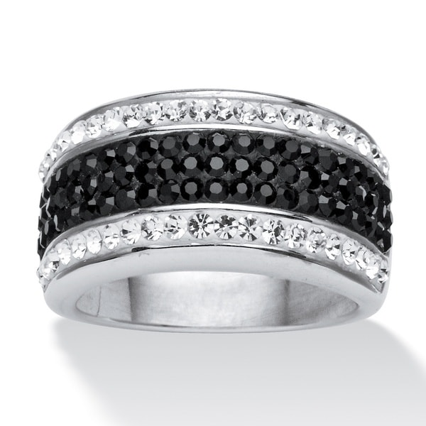 PalmBeach Jewelry Platinum-plated Pave Jet Black and White Crystal Row Ring made with Swarovski Elem Color Fun