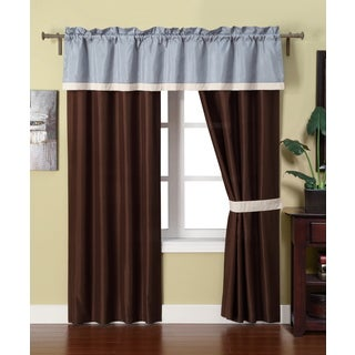 Maxwell Faux Silk Taffeta 5-piece Curtain Panel Set