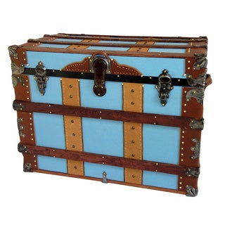 Furlong Light Blue Canvas Duck Antique Trunk