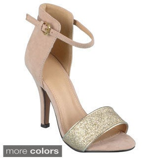 Journee Collection Women's 'Demi-1' Glitter Ankle Strap High Heels