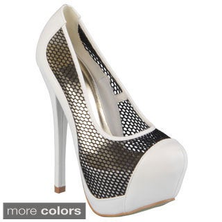 Journee Collection Women's 'Freja-5' Closed Toe Platform Mesh Pumps