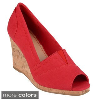 Journee Collection Women's 'Leah-01' Canvas Peep-toe Wedges