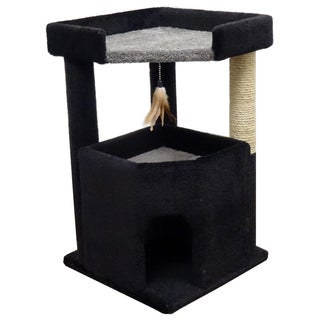 New Cat Condos Solid Wood Corner Roost Cat Tree (Gray/ Black)