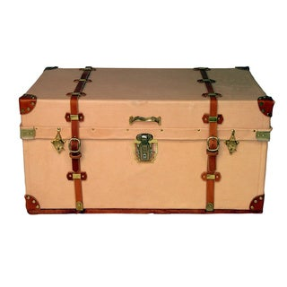 Rosemary Twin-belt Antique Leather Steamer Trunk
