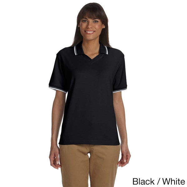 Devon & Jones Women's Tipped Perfect Pima Interlock Polo