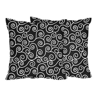 Sweet Jojo Designs Black and White Swirl Throw Pillows - (Set of 2)
