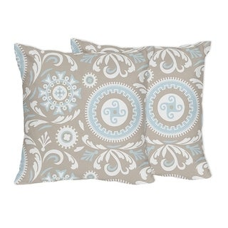Sweet Jojo Designs Blue and Taupe Hayden Collection Throw Pillows (Set of 2)