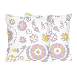 Sweet Jojo Designs Lavender and White Suzanna Collection Throw Pillows (Set of 2)