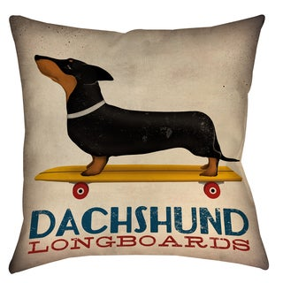 Dachshund Longboards 19-inch Indoor/ Outdoor Throw Pillow